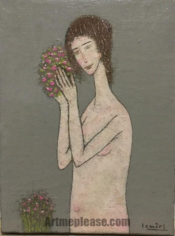 Desnudo con flores